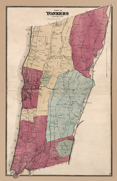 Yonkers, Westchester County, NY, Antique Map, circa 1868. Show surrounding community and Hudson River. Enhanced, restored reproduction of an old map that features local landmarks and family names.