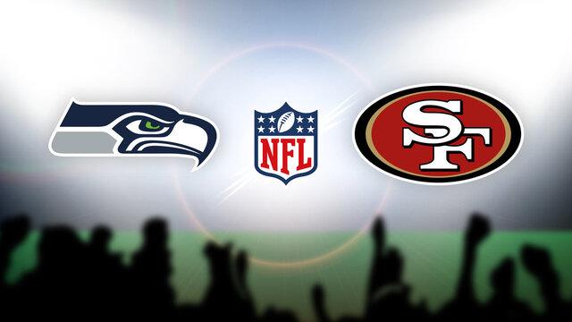 NFL Seattle Seahawks vs San Francisco 49ers vector illustration.