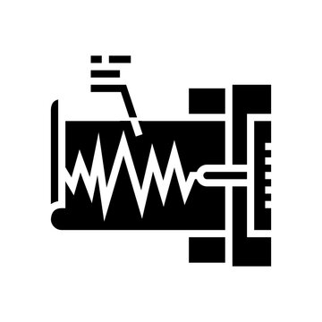 seismograph device glyph icon vector. seismograph device sign. isolated contour symbol black illustration