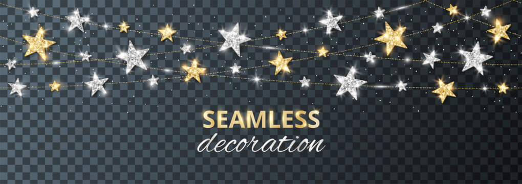 Seamless vector decoration isolated on transparent background. Strings with silver and gold stars. Sparkling glitter holiday border. For Christmas party posters, wedding invitations, birthday cards.