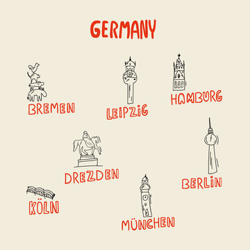 Symbols of Germany and attractions for the map. Cities with buildings Germany, Germans, German, Hamburg, Berlin, Leipzig, Munich. Symbols of cities. The concept of tourism in cities with the