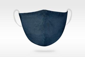 .Handmade blue fabric face mask