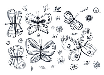 card banner poster, butterflies leaves flowers. sketch markers, freehand drawing doodle lines scandinavian style background grunge texture Nursery decor trend of the season, black isolated white