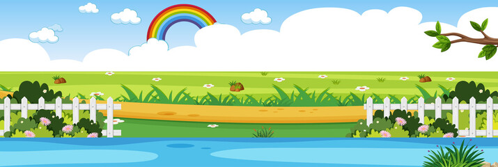 Horizon nature scene or landscape countryside with forest riverside view and rainbow in blank sky at daytime