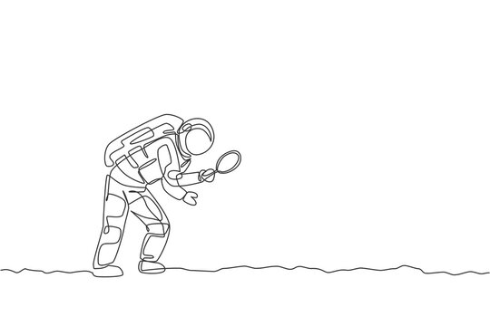 One continuous line drawing of young astronaut holding magnifier and search for foot trace in moon surface. Cosmic galaxy space concept. Dynamic single line draw graphic design vector illustration