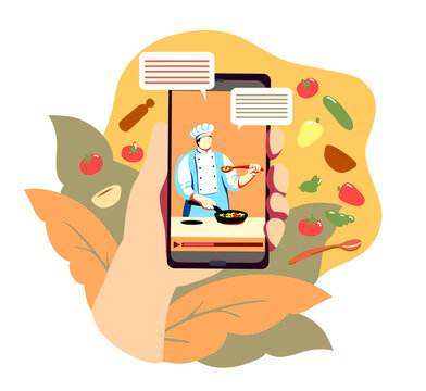 Online education for cooking by internet. Phone display with video of chef teacher cook, virtual culinary lesson. Distant food preparing master class. Vector