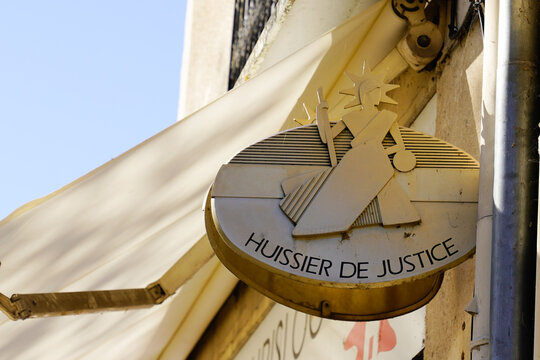 huissier de justice logo and text sign in france means office bailiff in French