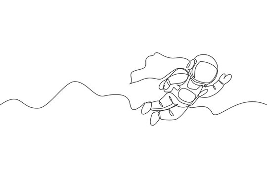 One single line drawing of space man astronaut exploring cosmic galaxy, flying with wing suit vector graphic illustration. Fantasy outer space life fiction concept. Modern continuous line draw design