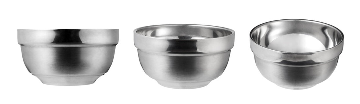 Empty stainless steel bowl isolated on white background.