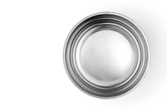 Empty stainless steel bowl isolated on white background. Top view.