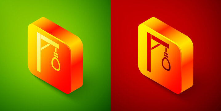 Isometric Gallows rope loop hanging icon isolated on green and red background. Rope tied into noose. Suicide, hanging or lynching. Square button. Vector.