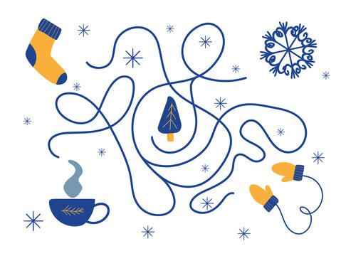 Christmas maze. Help a sock, snowflake, mittens, tea to find Christmas trees.