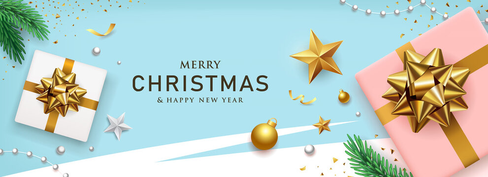 Merry Christmas and happy new year gold bow ribbon gift box banners design on blue background, Eps 10 vector illustration