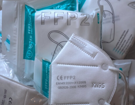 Packages of FFP2 protection masks against Covid-19