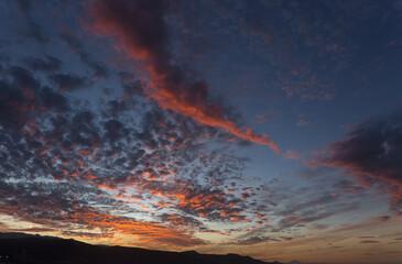 Beautiful sunset over Las Canteras beach in Las Palmas de Gran Canaria
