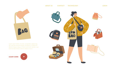 Fototapeta Girl with Suitcase, Reticule and Eco Bag, Backpack and Baggage Landing Page Template. Female Character with Bags