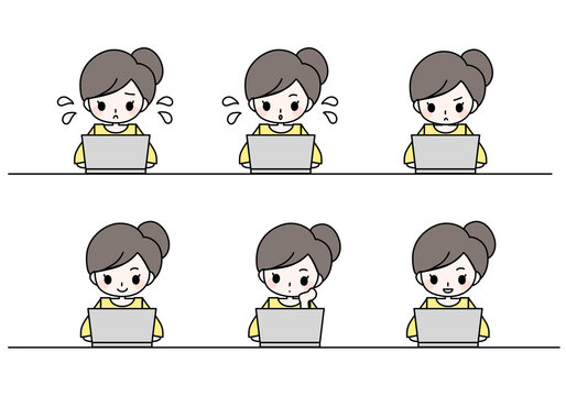 パソコンで仕事・勉強・リモートワーク・在宅ワーク中の女性のイラスト
