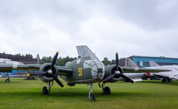 July 18, 2018, Moscow region, Russia. Medium bomber North American B-25 Mitchell at the Central Museum of the Russian Air Force in Monino.