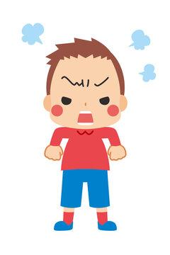 肩を怒らせプンプンと文句を言うご立腹の可愛い小さな男の子