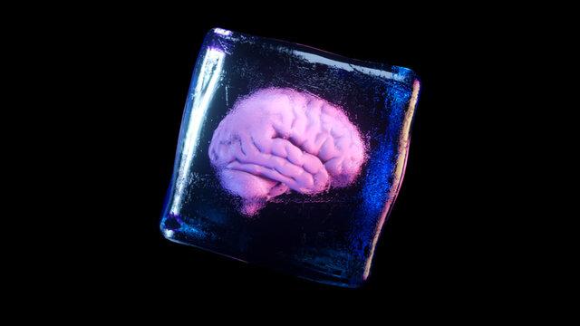 A frozen human brain inside a spinning ice cube. 3d illustration