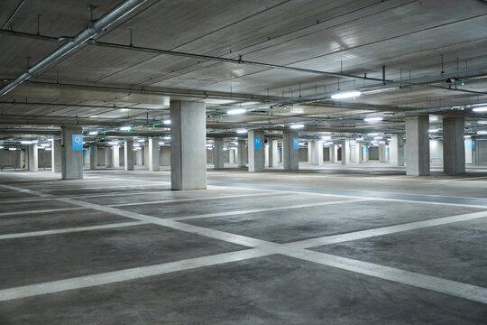Empty Underground Car Park During Health Pandemic Lockdown