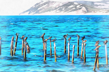 Beautiful scene with sea birds sitting on the sticks colorful painting looks like picture.