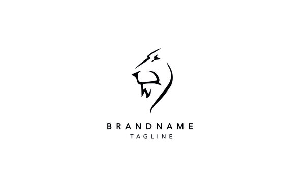 Abstract LION HEAD outline Logo Design Template Vector Illustration
