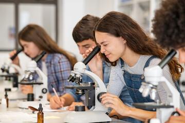 Fototapeta Biology class at high school lab obraz