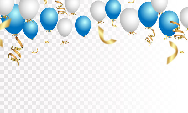 Festive banner with blue confetti and balloons