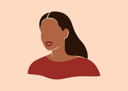 Silhouette of African American woman with black long hair. Smiled young female with brown skin portrait in earth colors. Vector illustration for International Women's Day and Mother's day.