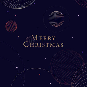 Merry Christmas social media post layout. Season's greeting card design with geometric space style illustration. Purple Christmas card.