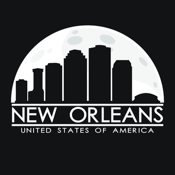 New Orleans Louisiana Skyline Silhouette City Vector Design Art.