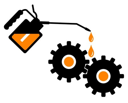 Hand lubricating gears with gear oil. Repair Of Equipment. Vector illustration.