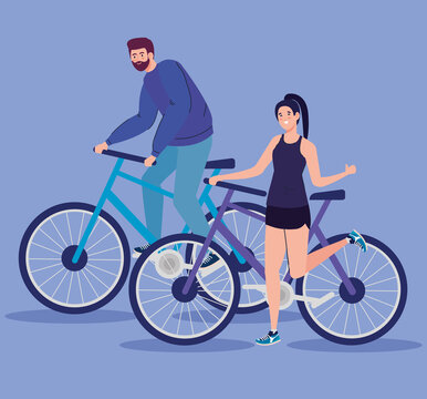 Woman and man riding bike design, Vehicle bicycle cycle and lifestyle theme Vector illustration