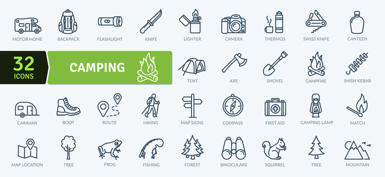 Camping Icons Pack. Thin line icons set. Flat icon collection set. Simple vector icons