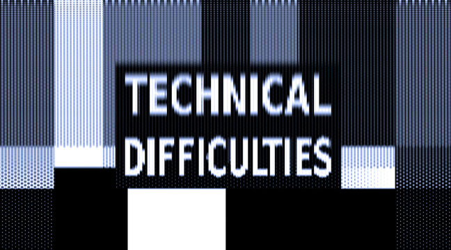 A test screen for a damaged TV transmission, with SMPTE color bars and the text Technical Difficulties. Moshed, crushed signal resulting in a monochrome view.