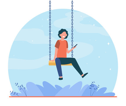 Happy kid sitting on swing and holding phone. Boy, smartphone, game flat vector illustration. Childhood and entertainment concept for banner, website design or landing web page