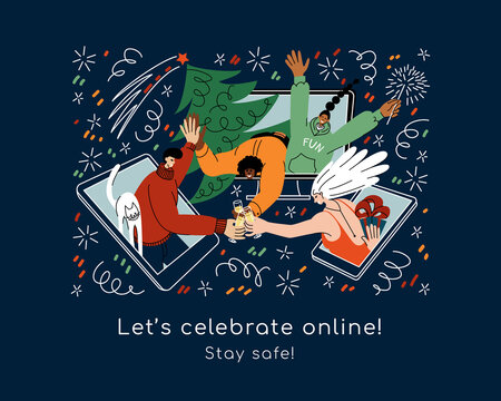 Vector illustration of happy friends on smartphone screens meeting remotely online to greet each other with Holidays and wish a Merry Christmas. Cheerful people celebrate New Year, exchange gifts