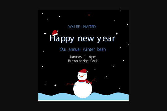 Christmas card with snowman & happy new year greeting card