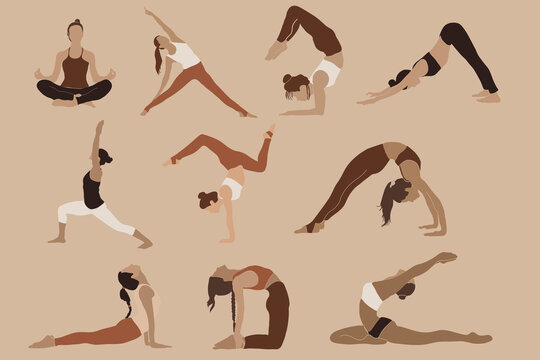 Abstract yoga poses clipart, boho woman portrait, yoga prints, meditation art, abstract modern collection, fashionable template for design