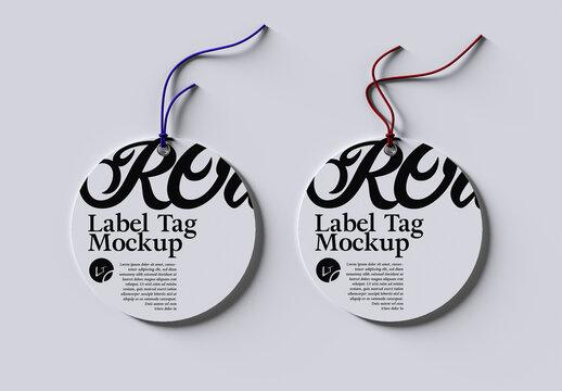 Photorealistic Round Product Label Tag Mockup Layout