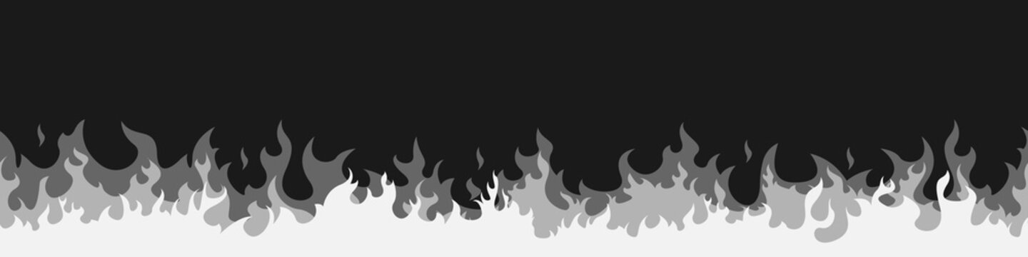 Vector fire. Fire sign. White flame elements on a Black background. Vector illustration