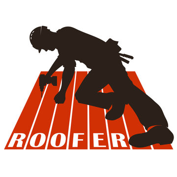Roofer with tool on the roof silhouette for business