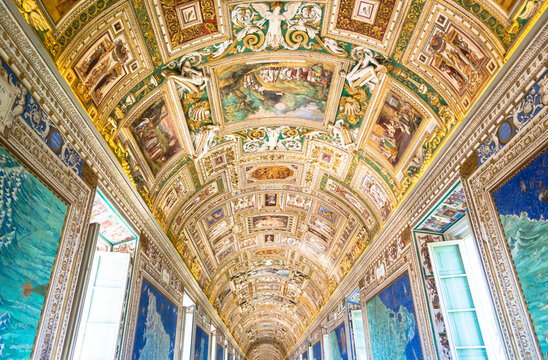 Perspective view in the Gallery of Maps in Vatican Museum, Vatican City, Rome.
