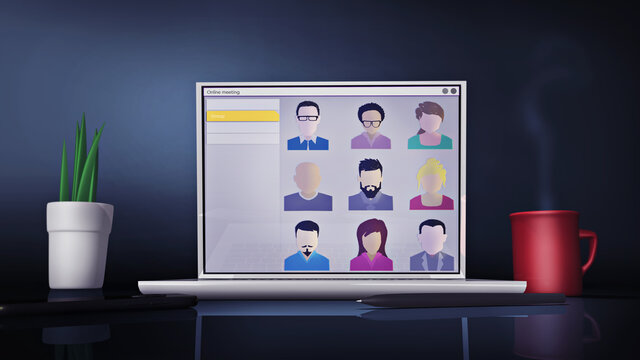 Virtual business meeting concept. Group of people connecting online from home with a group video call. A 3D rendering template of a laptop, Ideal for working or studying purposes on social distancing
