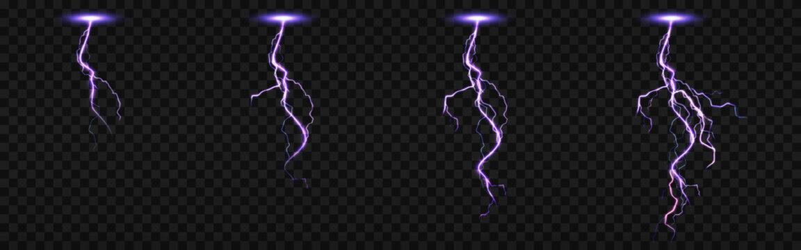 Sprite sheet with lightnings, thunderbolt strikes set for fx animation. Vector realistic set of purple electric impact at night, sparking discharge of thunderstorm isolated on transparent background