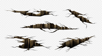 Fototapeta Ground cracks, fractures on land surface, earthquake breaks in perspective view. Vector realistic set of fissure in ground, crevices from disaster or drought isolated on transparent background