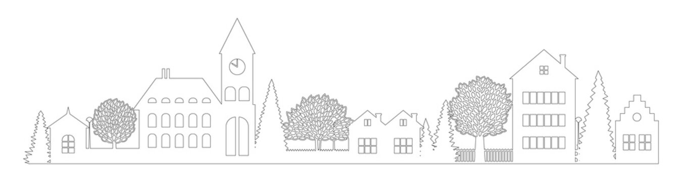 Small Town silhouette cutout skyline with chapel houses trees black contour isolated. Flat vector cartoon illustration of urban landscape office buildings and family houses in small town village. line