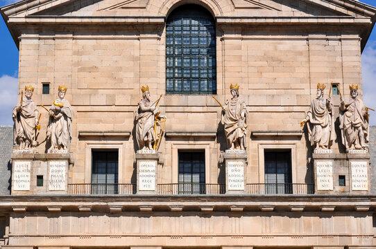 Statues on El Escorial palace facade outside Madrid, Spain