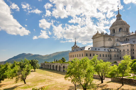 El Escorial Palace and gardens outside Madrid, Spain